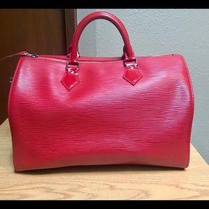Louis Vuitton Epi Speedy red,silver,lock,keys,bag